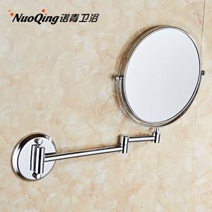 洗手間浴室鍍鉻免打孔美容三倍放大雙面化妝折疊伸縮鏡子壁掛式