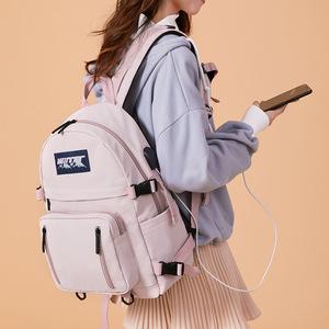 初中书包女韩版高中大容量森系百搭双肩包ins风校园大学轻便背包