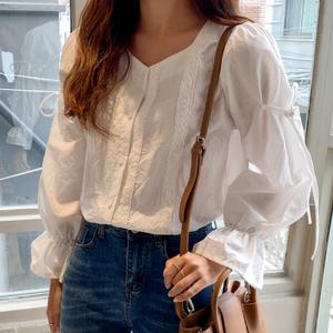韓國代購michyeora正品19初秋新款少女裝蕾絲邊系帶風領袖襯衫