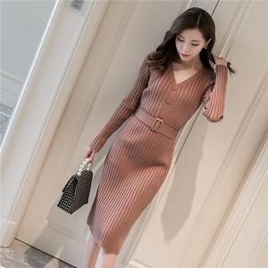 长袖V领包身针织衫连衣裙一步裙过膝中长款有腰带贴身毛衣裙性感