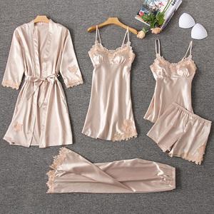 睡衣女夏季冰絲短袖薄款性感真絲綢睡裙帶胸墊春秋家居服五件套裝