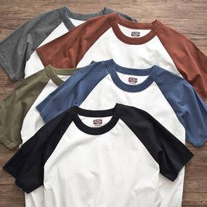 重磅阿美咔叽美式复古t恤  夏季纯棉圆领拼色插肩t恤男女短袖打底