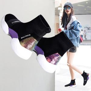 潮牌高幫鞋女平底襪靴2019秋新款韓版厚底襪子鞋加絨加厚運動短靴