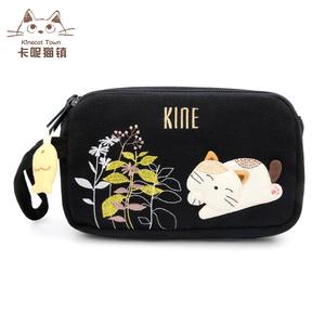 日本设计KINE猫 可爱女大容量帆布艺手拿包双层拉链零钱包手机包