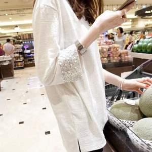韓國2020春裝新款女裝t恤女韓版中長款寬松長袖竹節棉打底衫上衣