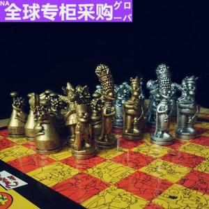 日本 全球购 金银色辛普森国际象棋玩家收藏品卡通人物象棋儿童节