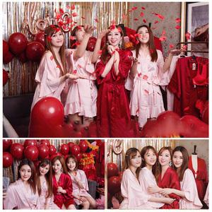 新娘伴娘团定制晨袍结婚婚礼闺蜜刺绣睡衣趴秋冬红色睡袍睡裙女夏