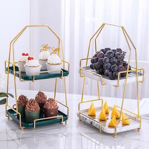 陶瓷水果盤歐式雙層點心盤蛋糕架多層糕點展示臺客廳創意糖果托盤
