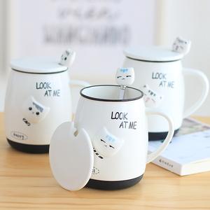 超萌可爱猫咪陶瓷水杯子带盖勺少女心马克咖啡杯早餐牛奶大容量