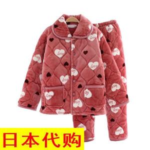日本购珊瑚绒睡衣女冬季加肥加大码夹棉棉袄特价清仓法兰绒加厚宽