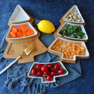 景德鎮陶瓷竹木聖誕樹托盤點心零食盤小吃水果碗碟子早餐沙拉擺盤