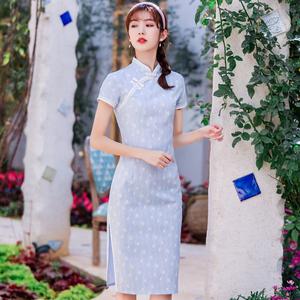 旗袍夏季新款改良復古時尚顯瘦年輕少女清新連衣裙日常中國風禮服