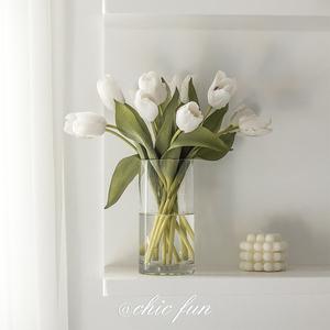 chic fun*ins风玻璃透明花瓶北欧创意简约郁金香客厅插花装饰摆件