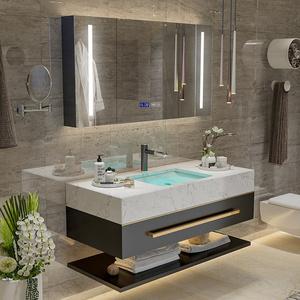 智能浴室柜组合轻奢双盆大理石台下洗手盆柜组合卫浴柜洗漱台镜柜