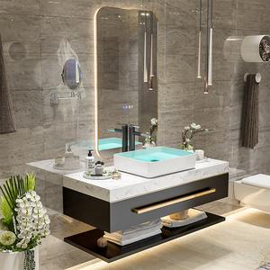智能浴室柜组合卫生间卫浴柜双盆轻奢大理石洗手台盆柜洗漱台简约
