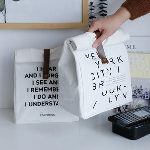 簡約便當保溫包外出野餐包小清新原創設計飯盒袋多用帆布包字母款