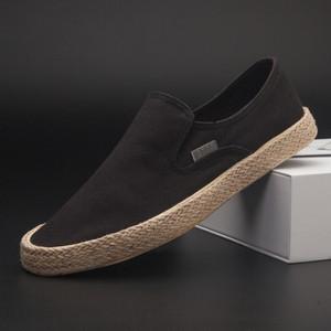 老北京布鞋男防臭一腳蹬鞋男懶人韓版潮流百搭休閑低幫黑色帆布鞋