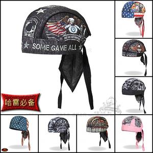 现货哈雷个性头巾摩托车裹头骷髅尖叫鹰布帽子海盗帽头套吸汗透气