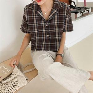 韓國代購 Michyeora官網女裝19夏裝新款格紋設計短款韓版短袖襯衫