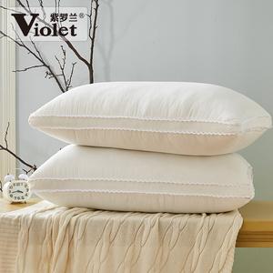 紫羅蘭家紡可水洗枕芯羽絲絨護頸高回彈柔軟酒店枕頭成人枕一只裝