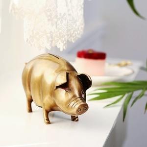 收获小屋 印度进口手工制作 黄铜金猪存钱罐饰品摆件 猪生肖礼物