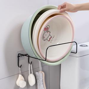 免打孔臉盆架衛生間壁掛臉盆掛架廚房墻壁強力粘膠掛鉤盆子收納架