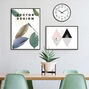 現代簡約客廳裝飾畫掛畫帶鐘表沙發背景墻畫裝飾壁畫餐廳飯廳掛鐘