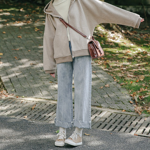 忠犬小八梨形自制泫雅高腰休閑直筒褲翻邊女韓版寬松牛仔褲學生