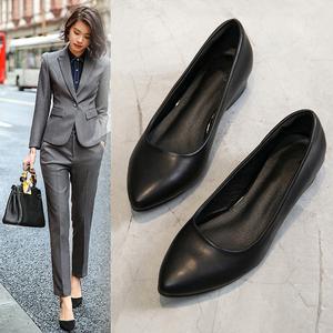 工作鞋女黑色单夏季平底低跟粗跟中跟高跟软?#21672;?#29677;职业舒适皮鞋子