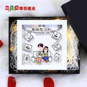 创意手工diy闺蜜情侣卡通立体相框6寸摆台男友生日礼物情人节周年