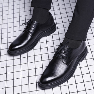 商務正裝休閑鞋英倫潮流透氣鞋子真皮內增高韓版黑色皮鞋男士夏季