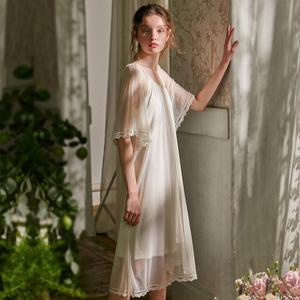 尘熙睡裙女夏短袖薄款蕾丝网纱莫代尔大码宽松家居服冰丝睡衣白色