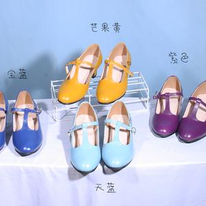 定制頭層牛皮T型單鞋中跟小碼鞋32-42碼復古女鞋子百搭簡約丁字鞋