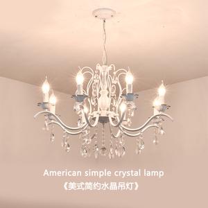 美式水晶吊灯简约餐厅客厅卧室灯后现代轻奢铁艺蜡烛服装店灯具