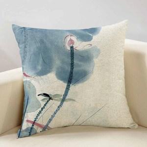 新中式水墨畫荷花棉麻抱枕亞麻中國風紅木沙發靠墊客廳靠枕套含芯