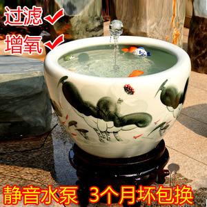 景德鎮陶瓷金魚缸過濾器噴水加氧泵氧氣泵流水風水循環魚缸過濾泵