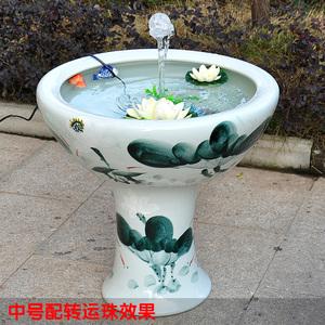 景德鎮陶瓷魚缸手繪立柱式水族箱烏龜碗蓮睡蓮缸過濾器加氧泵家用