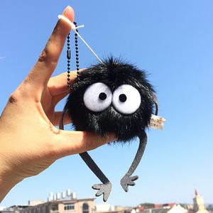 驅霉運卡通千與千尋草帽小煤球黑炭灰塵精靈書包掛件鑰匙扣布偶飾