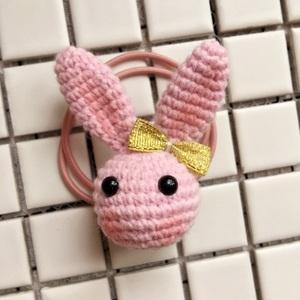 纯手工白色发绳钩针编织新款萌兔兔可爱发圈发饰