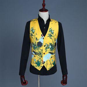 影樓主題男裝西服三件套中國風黃色印花仙鶴禮服男模修身馬甲套裝