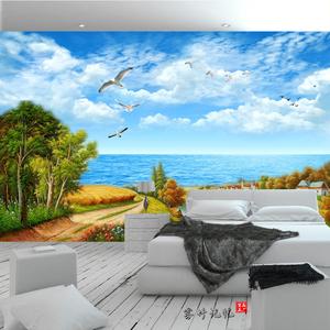 地中海浪漫海景風景3d背景墻客廳電視影視墻壁布5d8d水晶立體壁畫