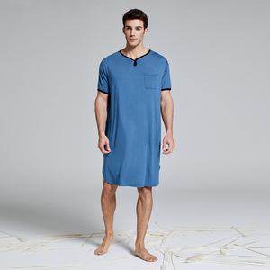 涼爽男士睡裙睡袍男夏季薄款冰絲莫代爾睡衣男長款短袖寬松加大碼