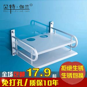 免打孔  太空铝置物架数字电视机顶盒支架路由器架子壁挂架单双层