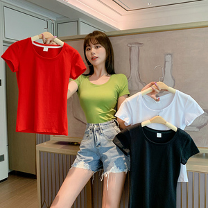 2020年新款短袖t恤女字母打底衫內搭純棉夏裝修身短款上衣體桖潮