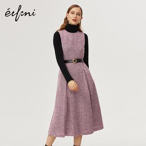 伊芙麗女裝2019新款潮冬裝年會復古法式高腰A字裙小香風連衣裙女