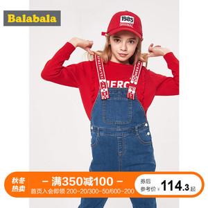巴拉巴拉背带裤女童儿童裤子2019新款童装春季中大童时?#34892;?#38386;长裤