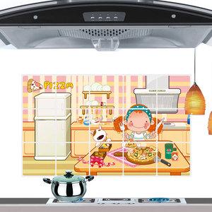 加厚防油贴油烟贴瓷砖贴厨房灶台墙体用防水贴纸壁纸自粘可爱卡通