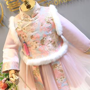 女童中国风连衣裙冬新款夹棉汉服儿童公主裙子唐装新年装拜年服