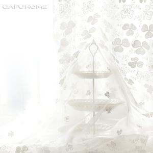 欧式/清新田园风格 白色立体绣花定制窗纱 阳台/卧室/客厅纱帘