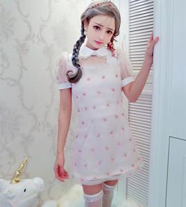 粉色鉆石小姐19春夏新款日韓軟妹清新娃娃臉花朵刺繡網紗連衣裙